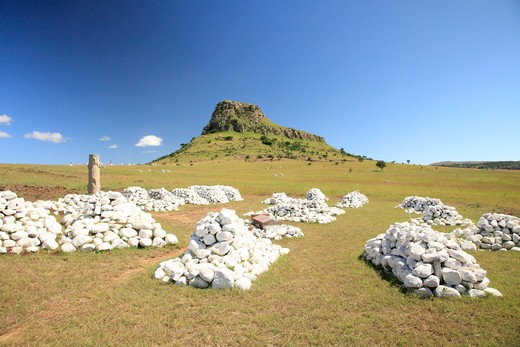 Stock Photo: 1488-886 Graves from Anglo-Zulu Battle, Isandlwana, KwaZulu-Natal, South Africa