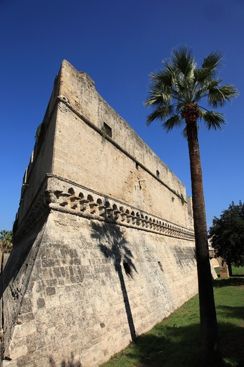 Stock Photo: 1488-897 Fortified wall with palm tree, Bari, Puglia, Italy