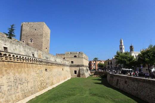 Stock Photo: 1488-898 Fortified wall with church in the background, Parochial Church, Bari, Puglia, Italy