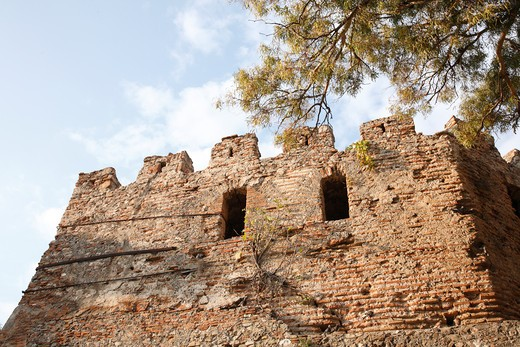 Fortified wall of a castle, Durres, Albania : Stock Photo