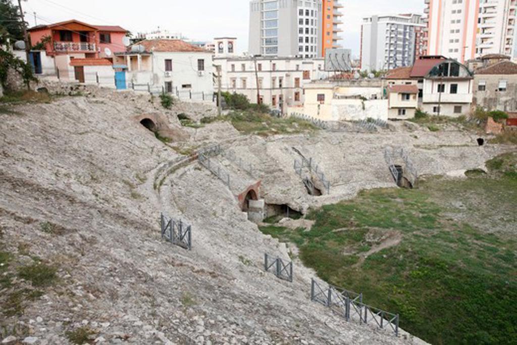 Amphitheatre in a city, Durres Amphitheatre, Durres, Albania : Stock Photo