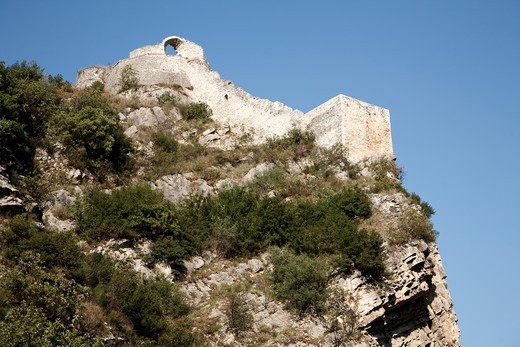 Stock Photo: 1488-921 Fortress on a hill, Berat, Albania