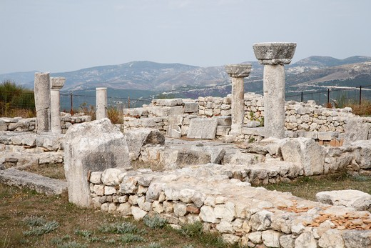 Ruins of an ancient Greek city, Byllis, Illyria, Albania : Stock Photo