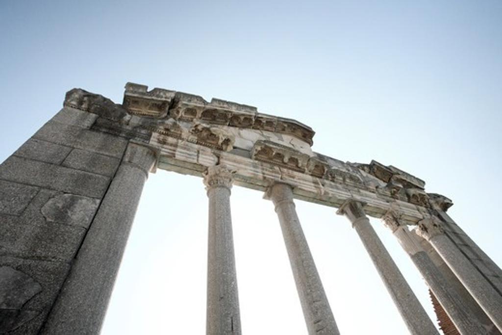 Old ruin of a temple, Apollonia, Illyria, Albania : Stock Photo
