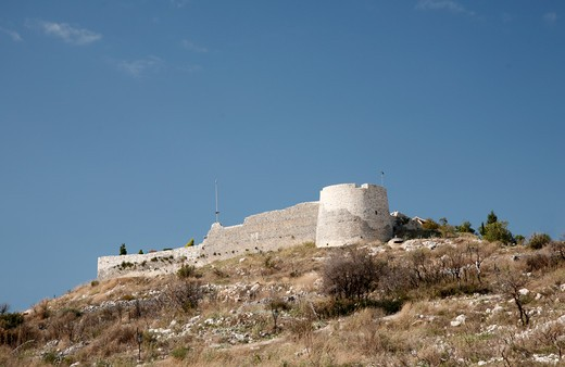 Stock Photo: 1488-929 Castle on a hill, Lekures Castle, Saranda, Albania