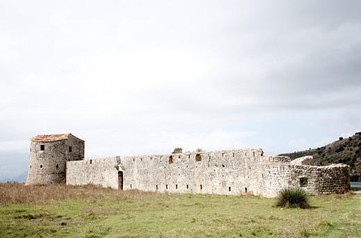 Stock Photo: 1488-935 Tri-Sided Venetian Fortress on a landscape, Butrint, Albania