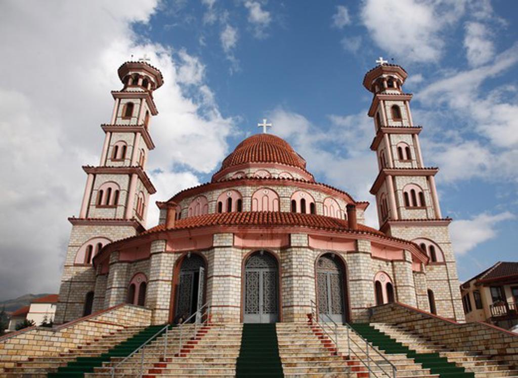 Stock Photo: 1488-939 Facade of a church, Resurrection Cathedral, Korca, Albania