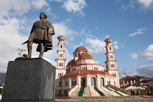 Monument in front of a church, Monument of National Fighter, Resurrection Cathedral, Korca, Albania : Stock Photo