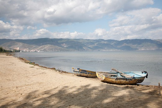 Boats on the beach, Lake Ohrid, Albania : Stock Photo