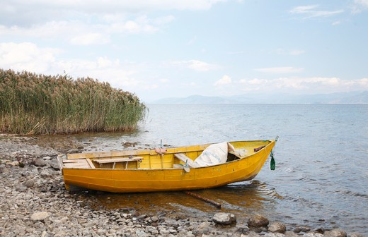 Boat at the lakeside, Lake Ohrid, Albania : Stock Photo