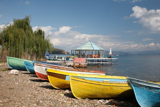 Stock Photo: 1488-943 Boats on the beach, Lake Ohrid, Albania