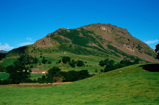 Grassy hill side, Rydal, Lake District, England : Stock Photo