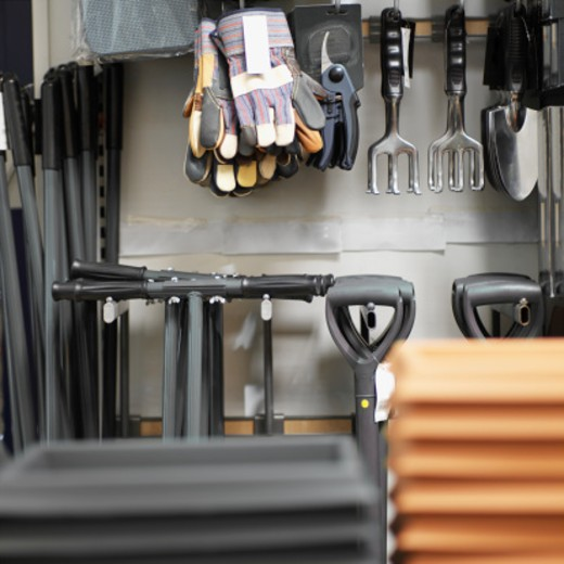 gardening equipments in a hardware store : Stock Photo