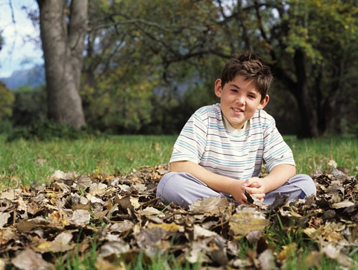 Boy (8-10) sitting on grass amongst dead leaves, smiling, portrait : Stock Photo