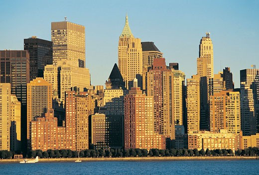 Downtown financial district from New Jersey : Stock Photo