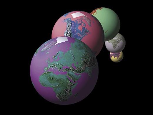 Five mixed globes : Stock Photo