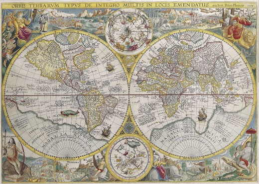 Stock Photo: 1491R-1016928 Double Hemisphere Map
