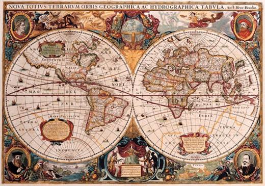 Double Hemisphere Map : Stock Photo