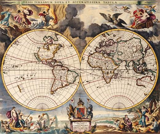 Stock Photo: 1491R-1016936 Double Hemisphere Map