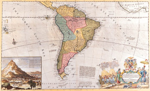 Map of South America : Stock Photo