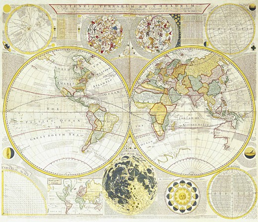 Double Hemisphere World Map : Stock Photo