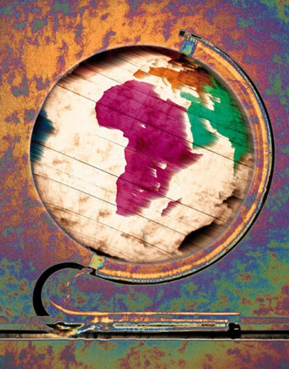 Multicolored globe showing continent of Africa : Stock Photo