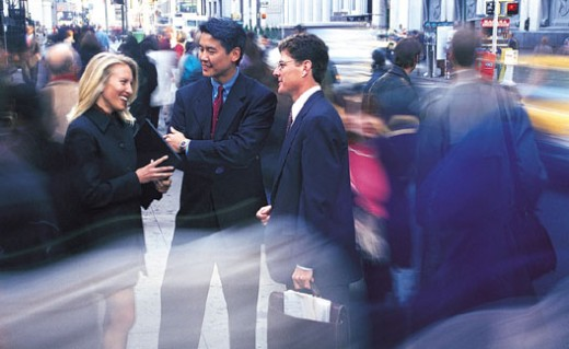Business People Talking in the Street : Stock Photo
