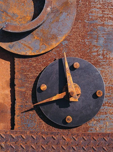 Stock Photo: 1491R-1017974 Rusted metal clock abstraction