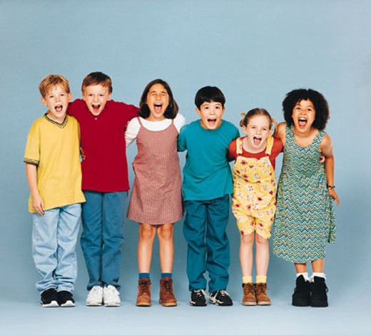 Children in row, arms around each other, laughing : Stock Photo