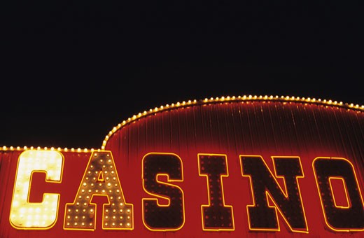 Casino gambling sign with bright 'C', Las Vegas, Nevada, USA : Stock Photo