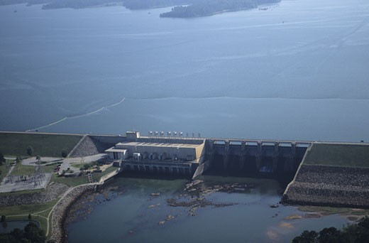 Renewable energy, West Point Hydroelectric Dam, aerial view, GA, USA : Stock Photo