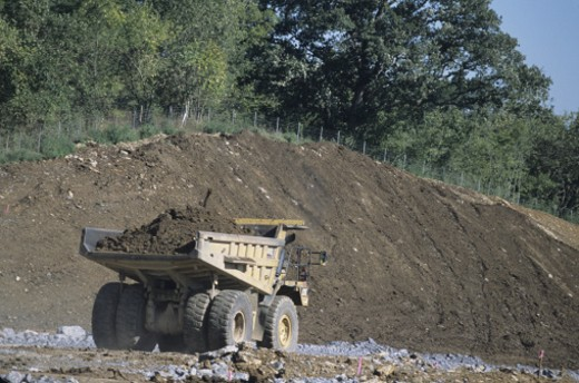 Dump truck, heavy construction, road building : Stock Photo