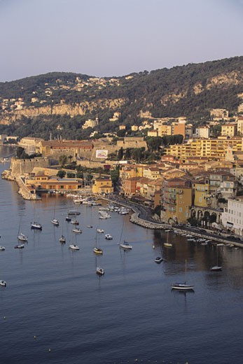 Stock Photo: 1491R-1022280 Harbor at VilleFranche, vertical view, French Riviera, Cote d' Azur, France