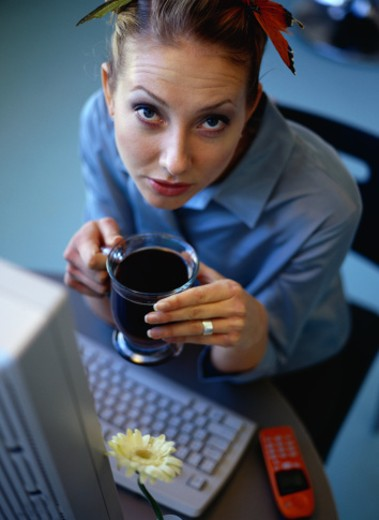 Portrait of a Woman Drinking Tea : Stock Photo