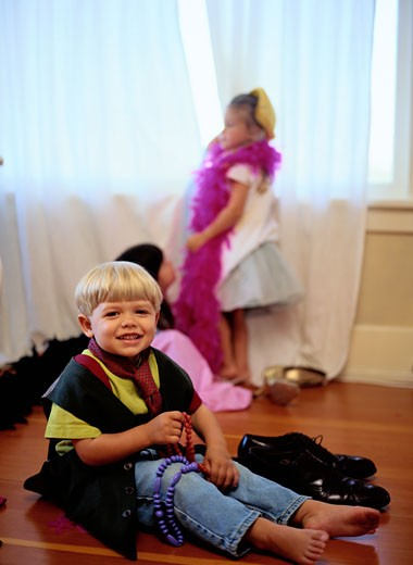 Stock Photo: 1491R-1027698 Portrait of Children Playing Dress-Up