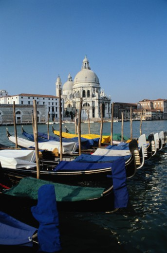 Stock Photo: 1491R-1030480 Santa Maria del Salute and Gondolas