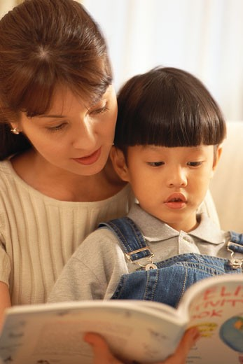 Stock Photo: 1491R-1032069 Mother and son reading book