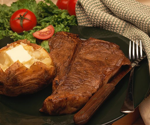 Stock Photo: 1491R-1033074 Steak dinner