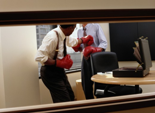 Stock Photo: 1491R-1037841 Businessmen Boxing in an Office