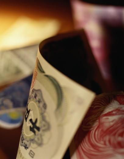 Detail of Japanese Yen and Hong Kong Dollars : Stock Photo