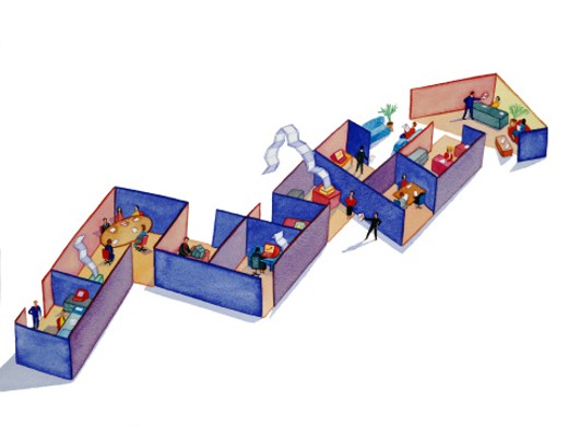 Office workers in cubicles arranged in shape of line graph : Stock Photo