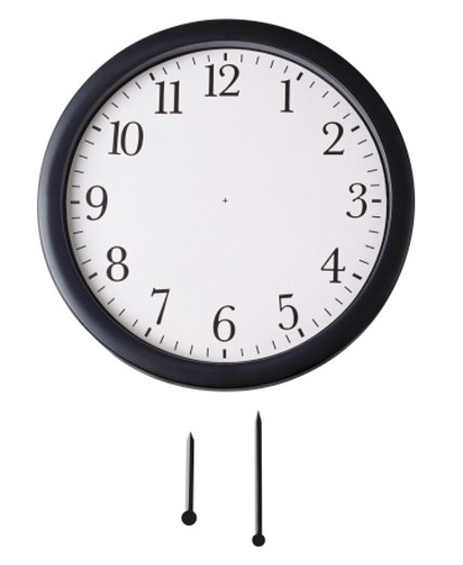 Front view of wall clock with hour hand and minute hand underneath : Stock Photo