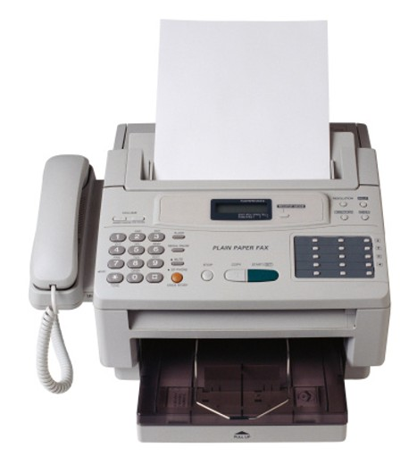 Stock Photo: 1491R-1040154 Front view of facsimile machine with built-in telephone