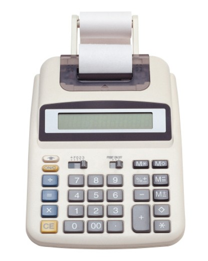 Stock Photo: 1491R-1040161 Front view of electronic adding machine