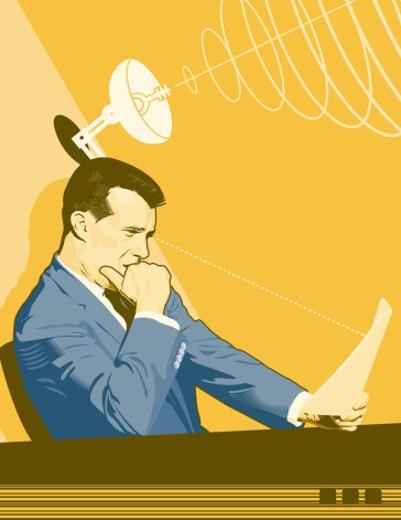 Stock Photo: 1491R-1041072 Businessman reading memo