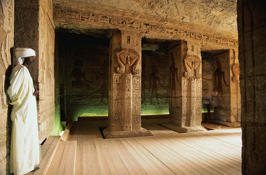 Man in the Temple of Nefertari : Stock Photo