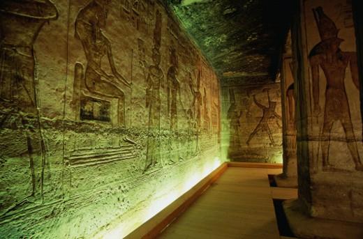 Stock Photo: 1491R-1041392 Interior of the Temple of Nefertari