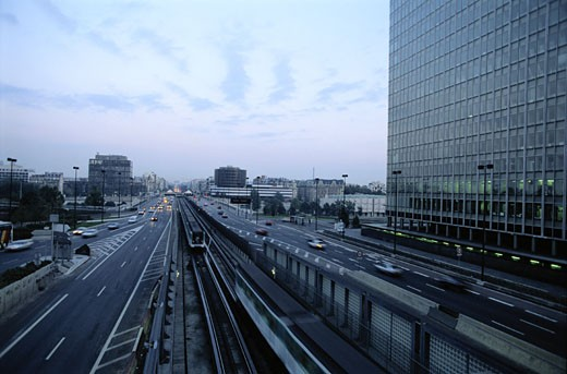 Train and Traffic in Paris : Stock Photo