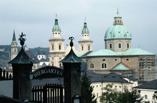 Biergarten Gate and Buildings -- Salzburg : Stock Photo