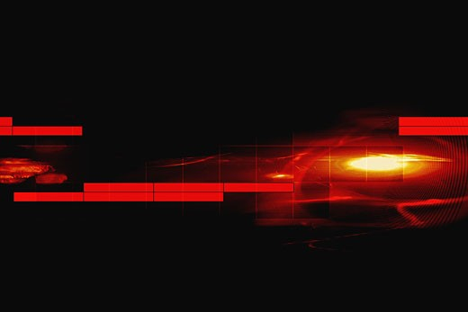 Stock Photo: 1491R-1057263 Fiery circle with red blocks on black background